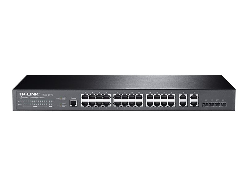 TP-LINK JetStream 24-Port FE Mngd Switch w 4xGbE, 4xGb SFP Combo, T2500-28TC