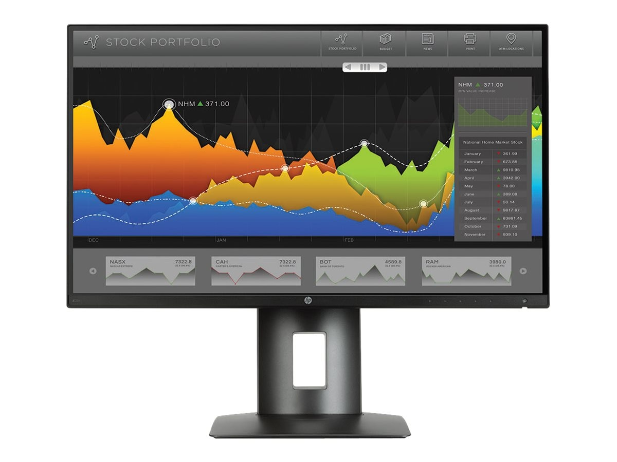 HP 25 Z25n QHD LED-LCD Monitor, Black, K7C01A8#ABA, 29831414, Monitors - LED-LCD