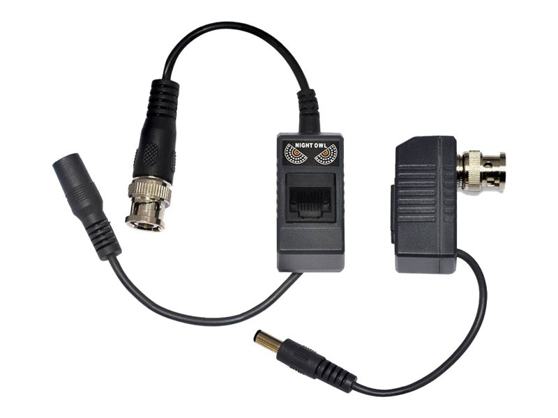 Night Owl 1-Pair Passive Video Balun Converters with Power, A-VB-POE-BNC, 16900492, Adapters & Port Converters