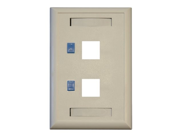 Tripp Lite 2-Port Dual Outlet RJ45 Universal Keystone Jack Face Plate, TAA, N042-001-WH, 9837595, Premise Wiring Equipment