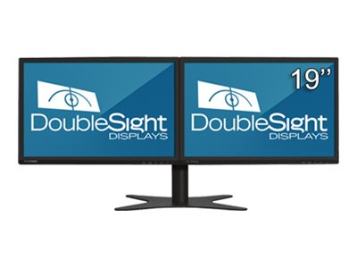 DoubleSight Dual 19 DS-1900WA Widescreen LCD Monitor with Flex Stand, Black, DS-1900WA, 8560387, Monitors - LCD