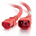 C2G Power Cord IEC 320-C14 to IEC 320-C13 14AWG, Red, 3ft