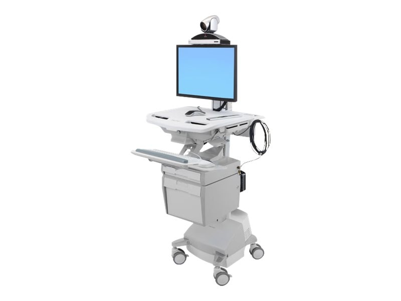 Ergotron StyleView Telepresence Cart, Single Monitor, Powered, SV44-53E1-1, 18180935, Computer Carts - Medical