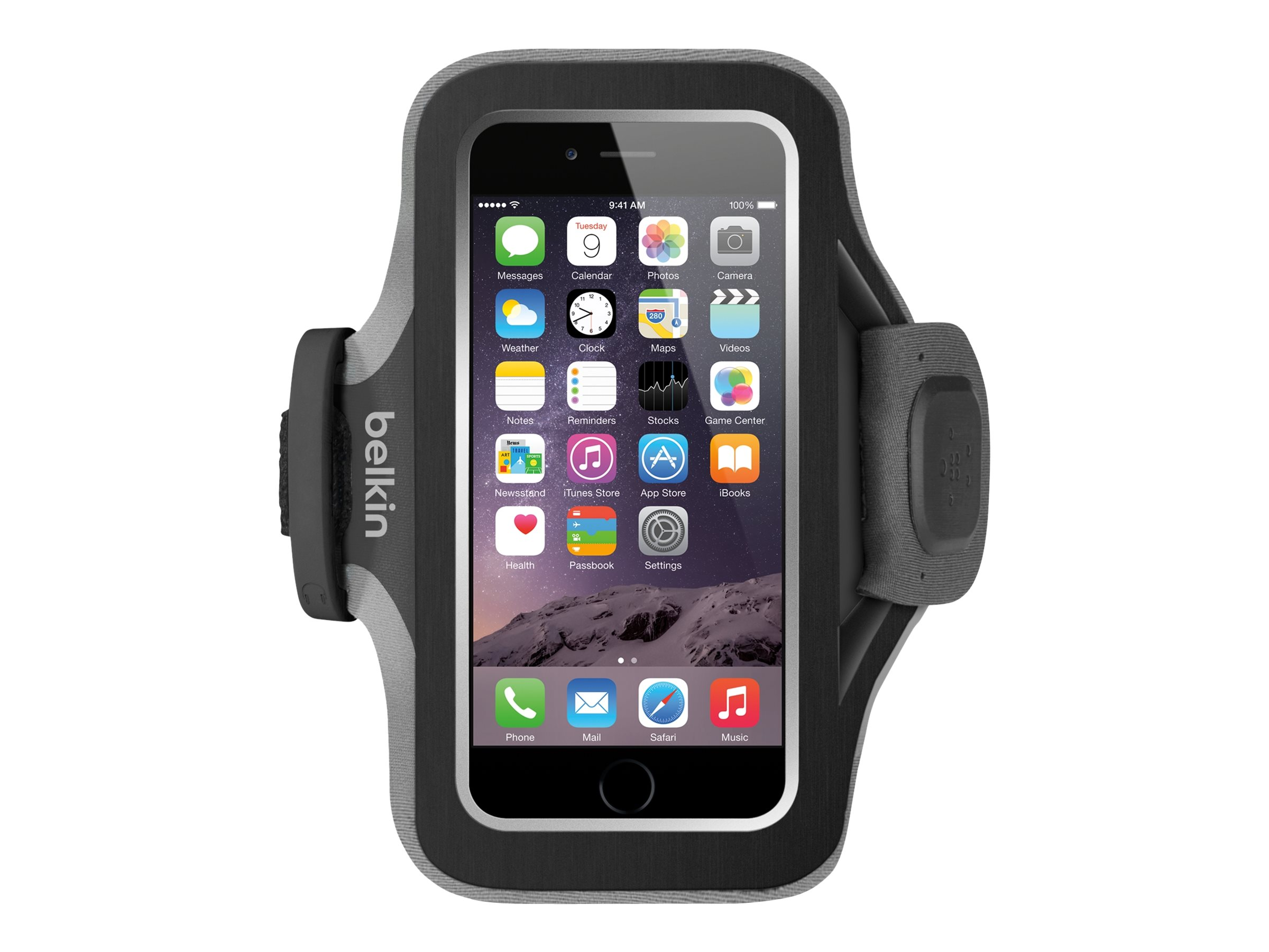 Belkin Slim-Fit Plus Armband for iPhone 6, Blacktop, F8W499-C00, 17869853, Carrying Cases - Phones/PDAs