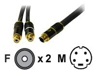 C2G S-Video Break-Away Cable, Mini DIN 4-pin (M) to 2x RCA (F), 20, 40022, 8339498, Cables