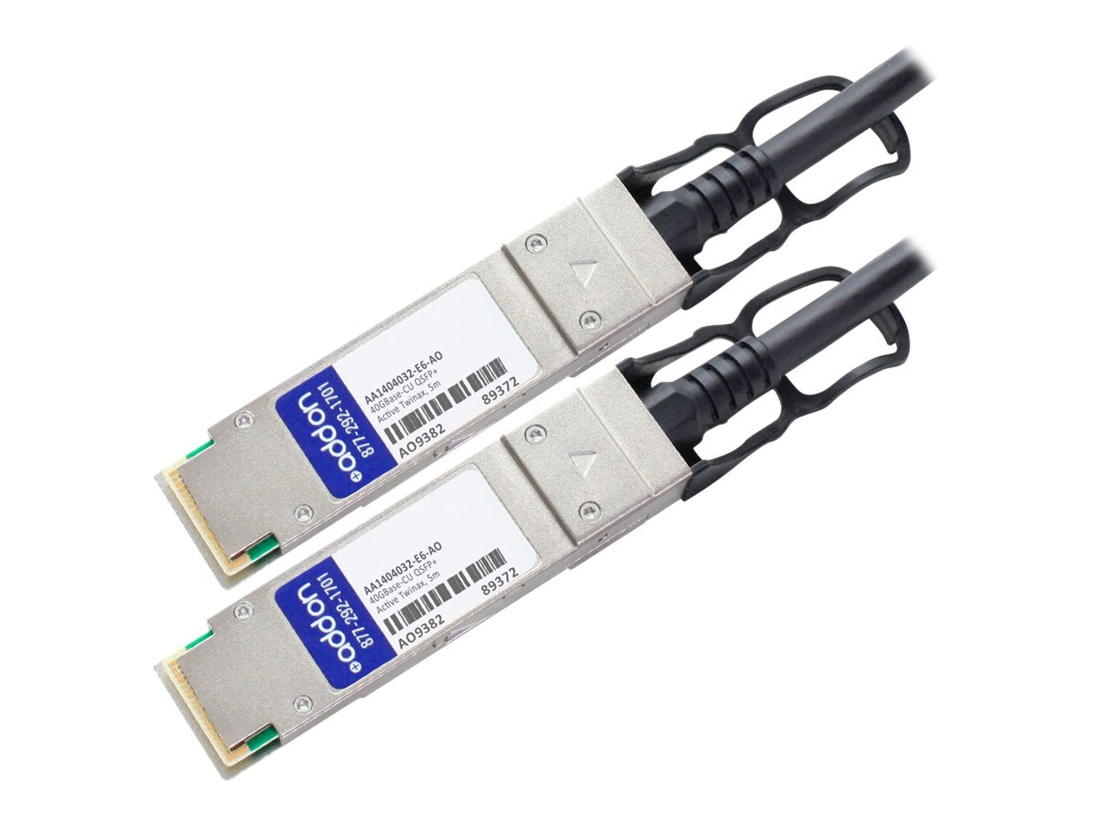 ACP-EP Avaya Compatible 40GBase-CU QSFP+ to QSFP+ Direct Attach Active Twinax Cable, 5m, AA1404032-E6-AO