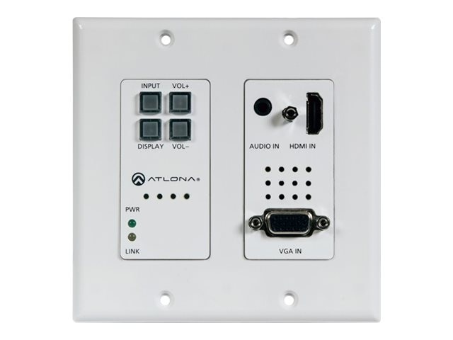 Atlona Two-Input Wall Plate Switcher for HDMI, VGA Sources w  Ethernet-Enabled HDBaseT Output