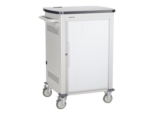 Black Box 30-Device Deluxe Intelligent Charging Cart - Single Frame with Medium Slots, Sliding Door