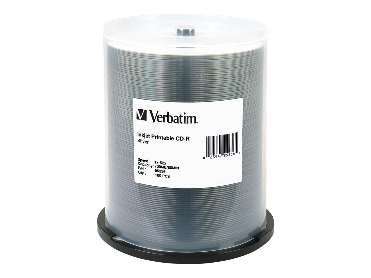 Verbatim 52x 700MB Silver Inkjet CD-R Media (100-pack), 95256, 6505931, CD Media