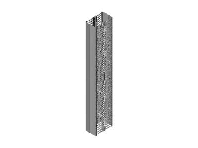 Chatsworth Velocity Double-Sided Vertical Cable Manager for 6ft High (1.8 m), 38U Rack 70h x 3.6w x 16.4d, 13911-701, 17970118, Rack Cable Management