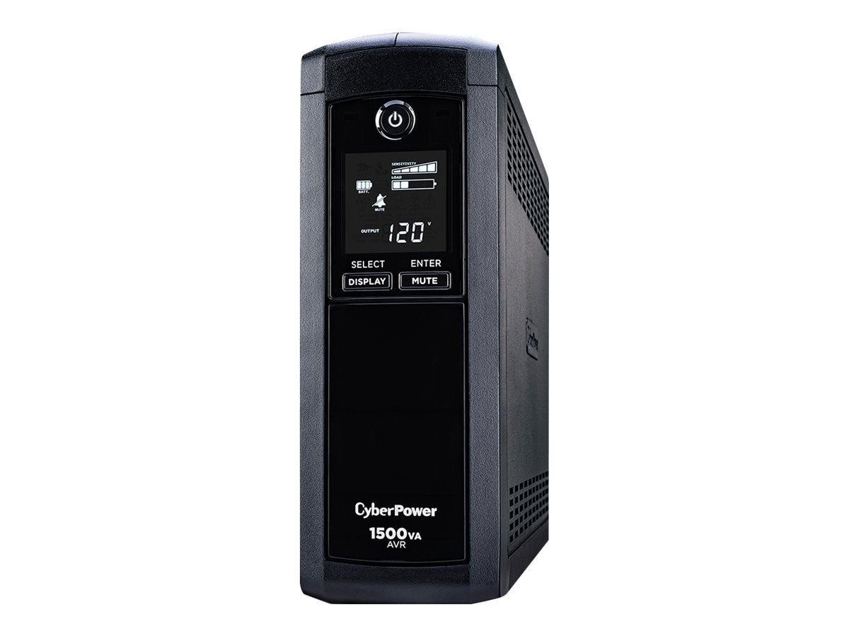 CyberPower 1500VA 900W UPS AVR, LCD, Line Interactive, (12) Outlets, Phone Network Cable Coax Protection