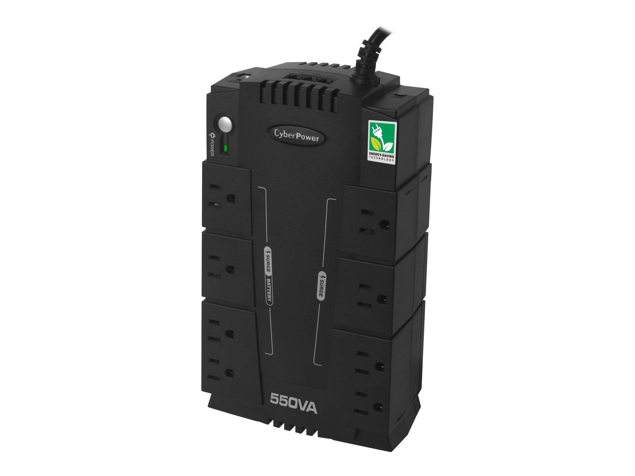 CyberPower 550VA 120V Standby Green UPS (8) 5-15R Outlets USB, RJ-11, Management Software TAA Compliant, CP550SLGTAA, 14531013, Battery Backup/UPS