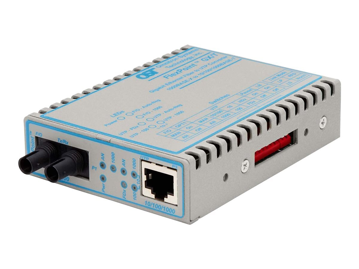 Omnitron FlexPoint GX T 10 100 1000 UTP to 100 1000X Fiber Ethernet Media Converter, 4706-0, 15539341, Network Transceivers