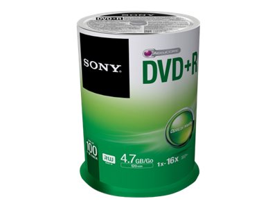 Sony 16x 4.7GB DVD+R Media (100-pack Spindle), 100DPR47SP, 15780880, DVD Media