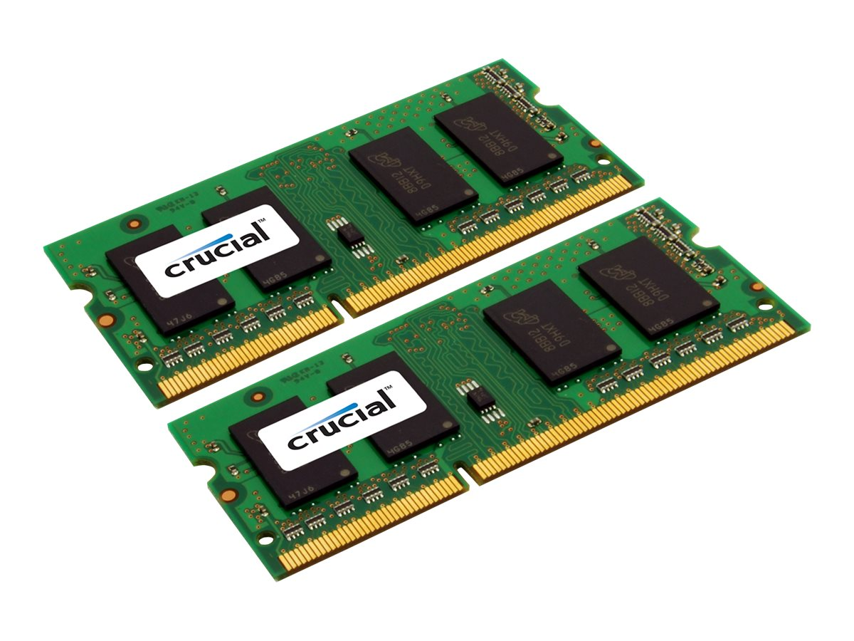 Crucial 8GB Kit PC3-12800 204-pin DDR3 SDRAM SODIMM Kit, CT2KIT51264BF160B, 14507304, Memory