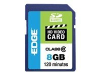 Edge 8GB SDHC HD Video Card, Class 6, PE222598, 10041201, Memory - Flash