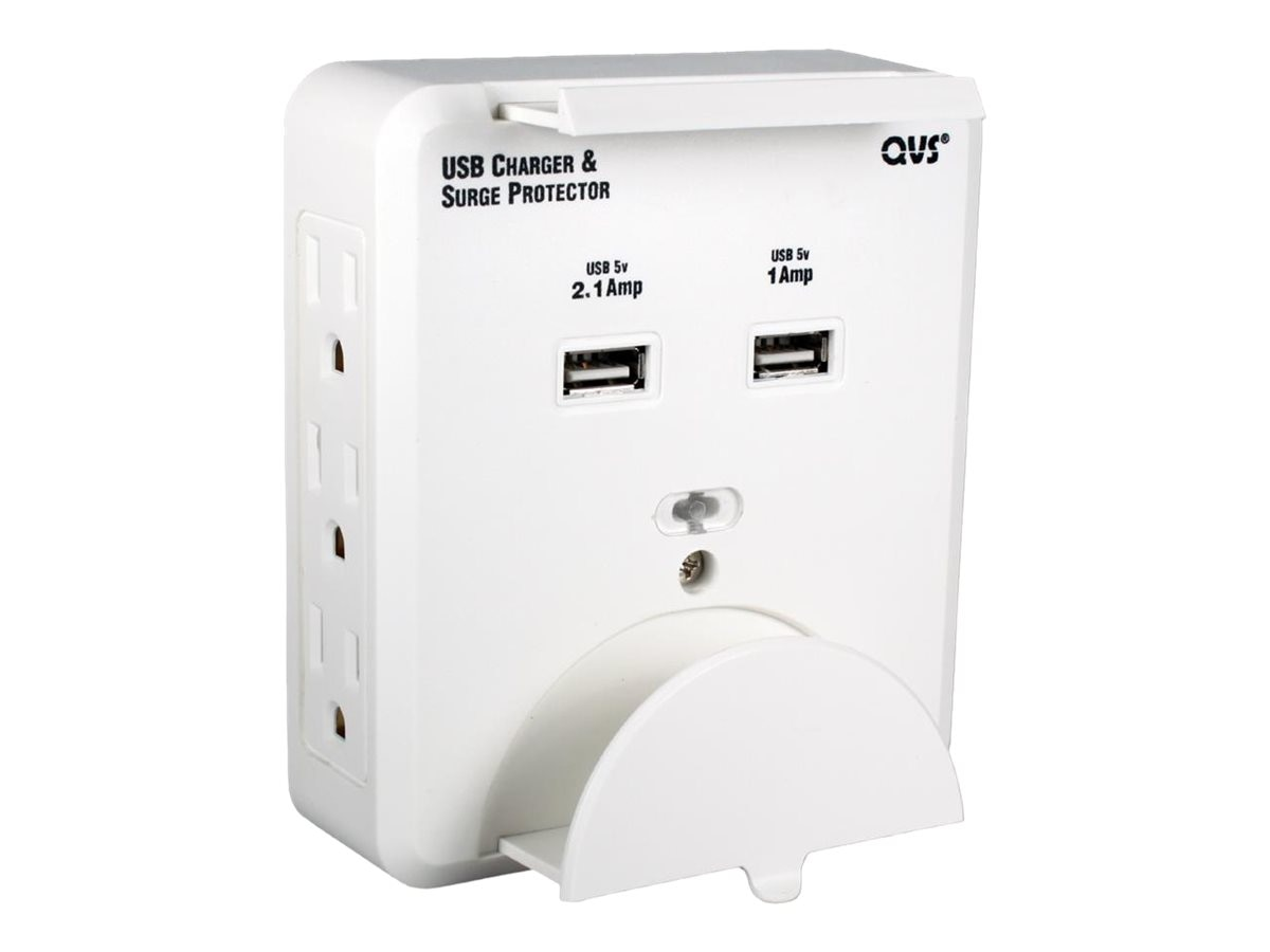 QVS 8-Outlet Wallmount Power Strip w  Dual USB 2.1A Charging Ports, PS-06UH