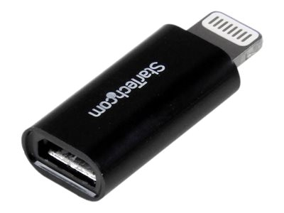 StarTech.com Apple 8-pin Lightning Connector to Micro USB Adapter for iPhone iPod iPad, Black, USBUBLTADPB