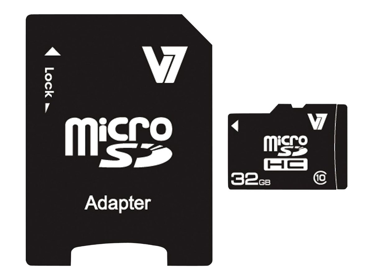 V7 32GB Micro SDHC Class 10 Flash Card with Adapter, VAMSDH32GCL10R-2N, 15213236, Memory - Flash