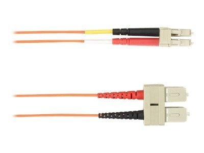 Black Box SC-LC 62.5 125 OM1 Multimode Fiber Optic Cable, Orange, 1m, FOCMR62-001M-SCLC-OR