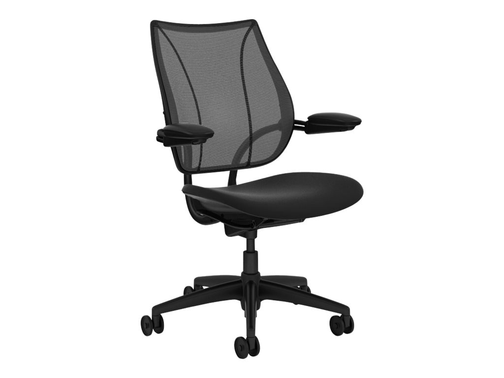 Humanscale Liberty Conference Task Chair with Adjustable Duron Arms, Black Frame with Black Trim