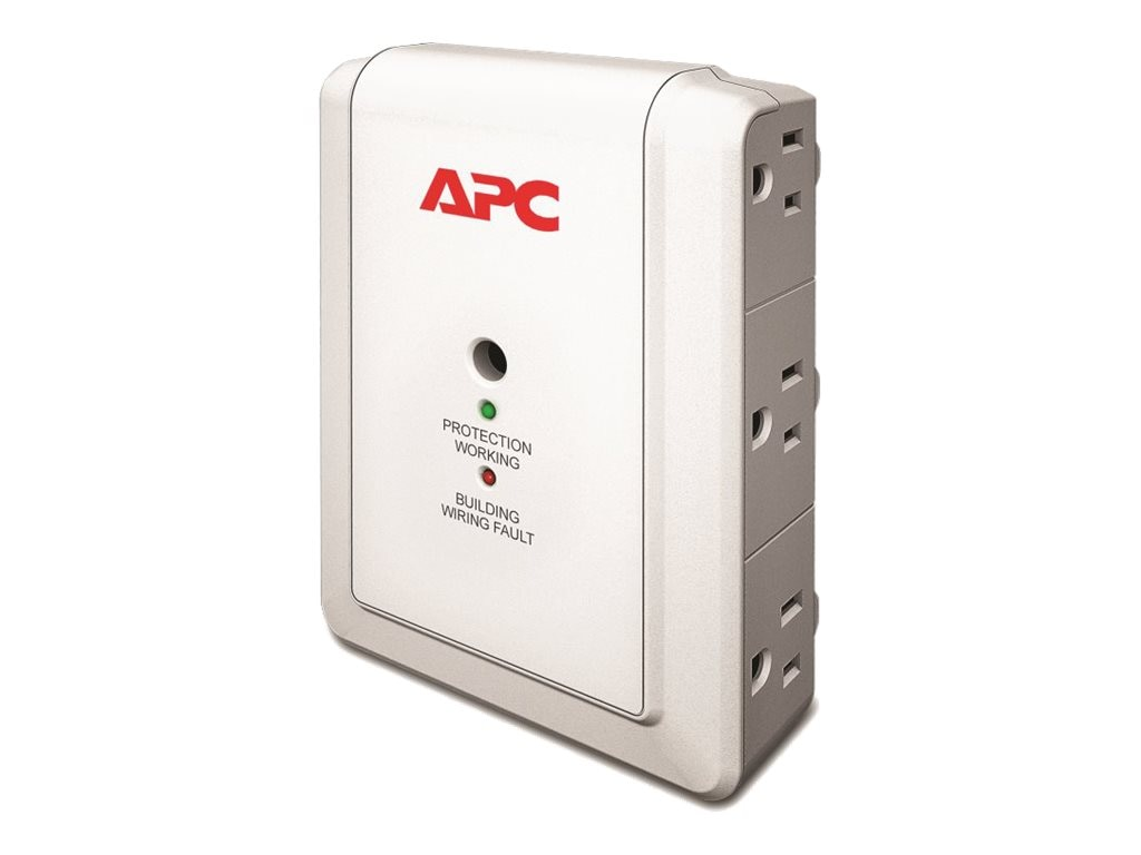 APC Essential SurgeArrest Wallmount Surge Protector with Phone Line Protection 120V (6) 5-15R Outlets, P6WT, 12096151, Surge Suppressors