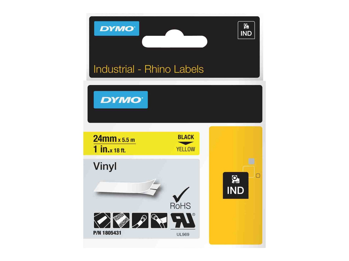 DYMO 1 Rhino Yellow Vinyl Labels, 1805431