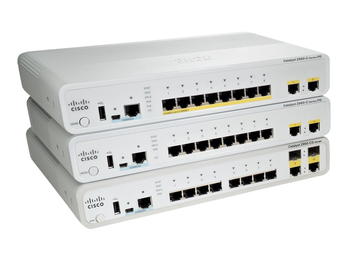 Cisco Catalyst 2960C PD Switch 8-FE 2 X 1G LAN Base, WS-C2960CPD-8TT-L, 12809448, Network Switches