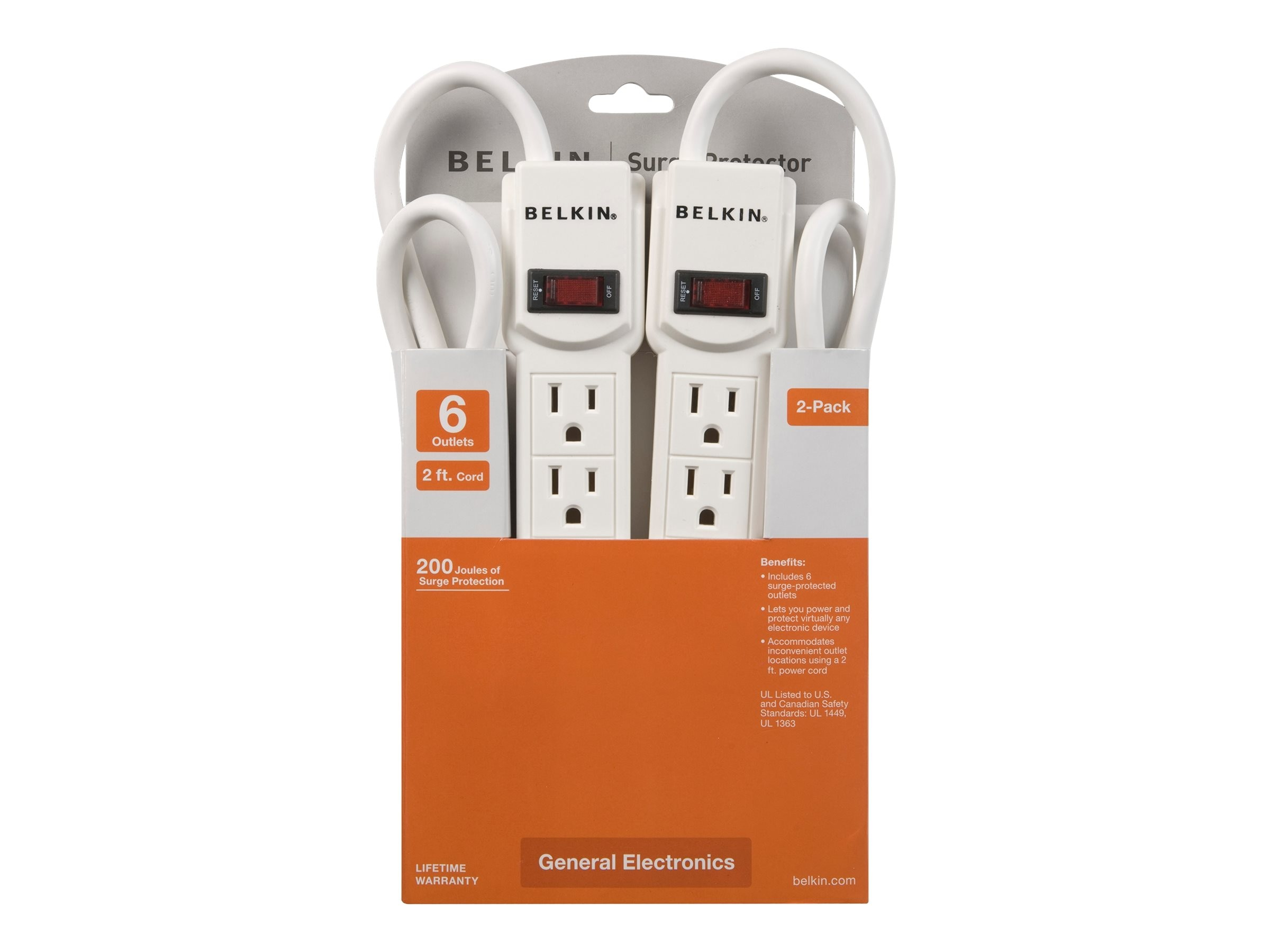 Belkin Surge Protector 6-Outlets 200 Joules 2ft Cord (2-pack), F5C048-2
