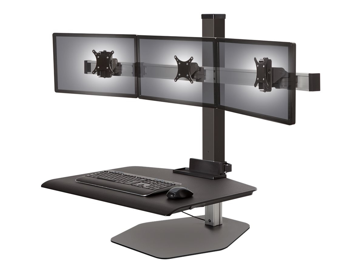 Ergotech Winston Triple Monitor Sit-Stand Workstation, Vista Black