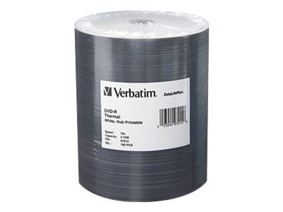 Verbatim 16x 4.7GB White Inkjet Hub Printable DVD-R Media (100-pack Tape Wrap), 97016