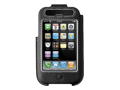 Belkin Formed Leather Case for iPhone, Black Silver, F8Z338, 8824901, Carrying Cases - Phones/PDAs