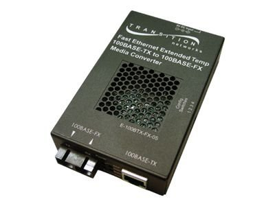 Transition 100BaseTX RJ-45 to 100BaseFX 1300nm MMF SC 2km Extended Temperature Media Converter