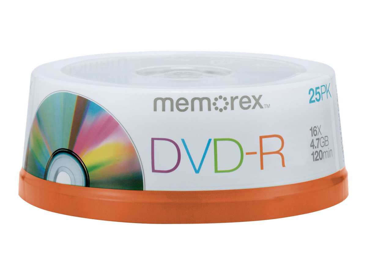 Memorex 4.7GB DVD-R Media (25-pack Spindle), 05638, 9354948, DVD Media