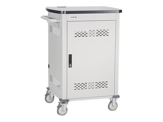 Black Box 27-Unit Laptop Chromebook Charging Cart with Hinged, Locking Door, UCCSM27H, 16004356, Computer Carts