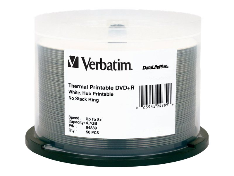 Verbatim 8X 4.7GB White DVD+R Media on Spindle, Thermal Printable (50-Pack)