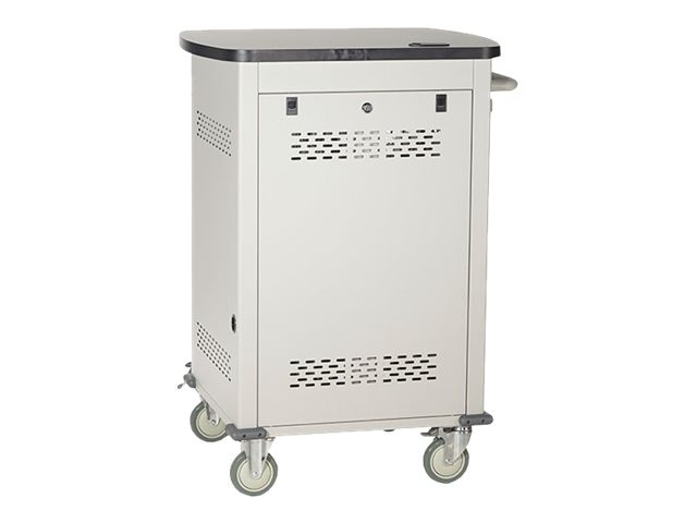 Black Box 18-Device Deluxe Intelligent Charging Cart - Single Frame with Medium Slots, Sliding Door