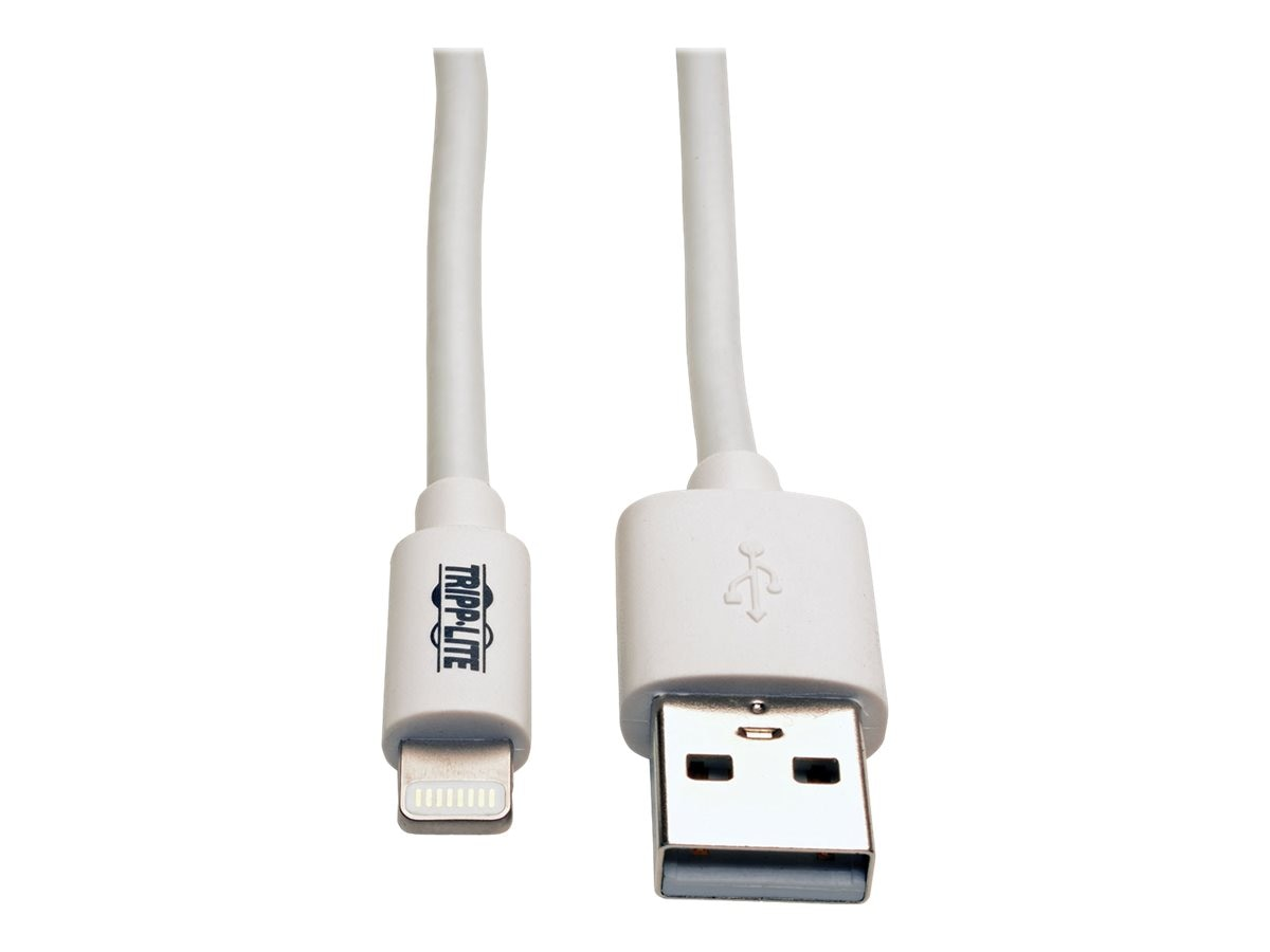 Tripp Lite USB Sync Charge Cable with Lighting Connector, White, 10ft, M100-010-WH, 26275045, Cables