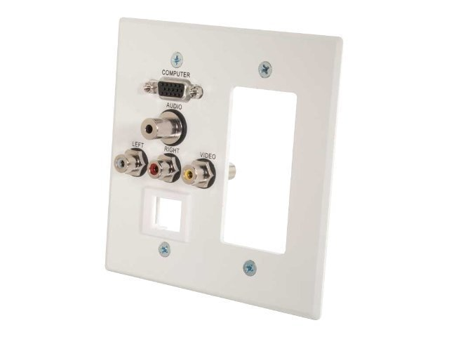 C2G Decora-Style Cut-Out Wall Plate Double Gang HD15, 3.5mm, RCA Audio Video, Keystone, White