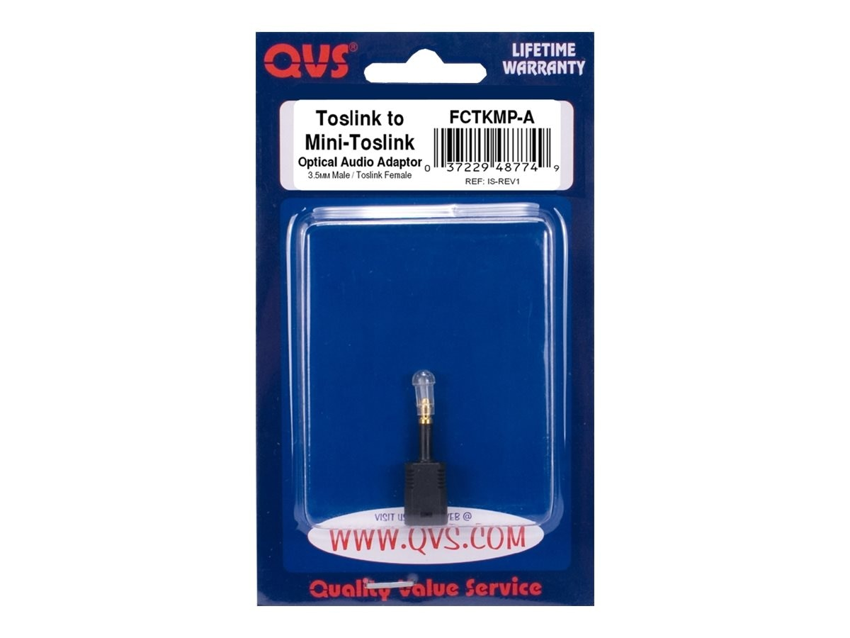 QVS Toslink to Mini Toslink Digital Optical Audio Adapter, FCTKMP-A, 15234504, Adapters & Port Converters