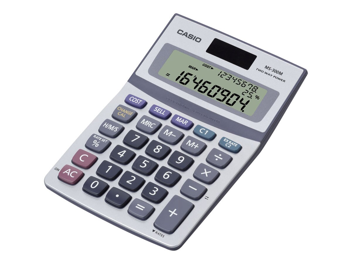 Casio Solar Desktop Calculator with 3 Line Display, MS-300M, 10126475, Calculators