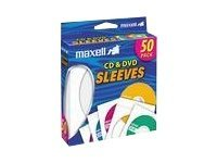 Maxell CD DVD Sleeves (50-pack), 190135, 9706368, Media Storage Cases