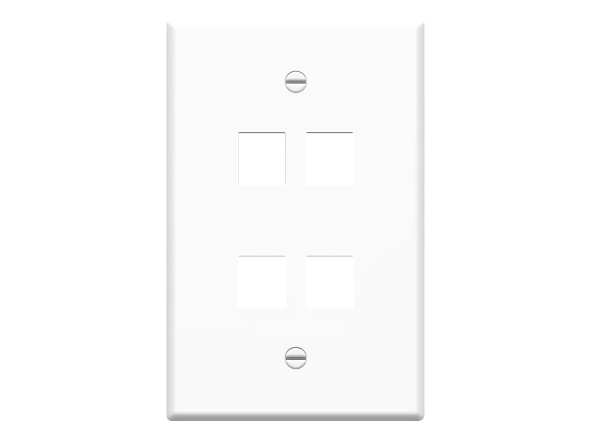 4Xem 4-Outlet RJ-45 Wall Plate Face Plate, White, 4XFP04KYWH