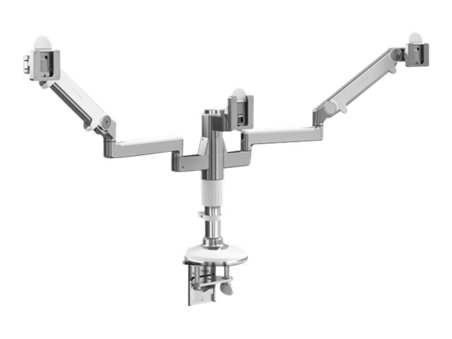 Humanscale MFlex Arm with Triple Monitor Support, Clamp Mount, Aluminum with White Trim