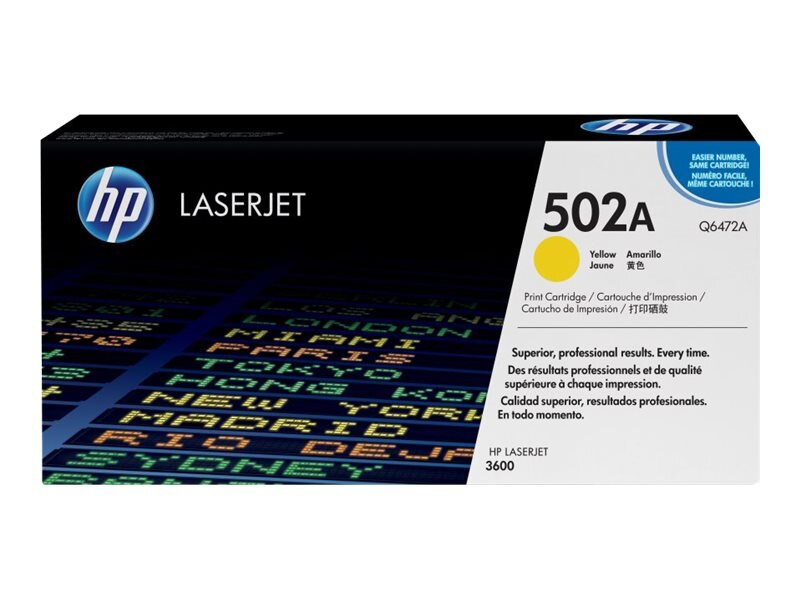 HP 502A (Q6472A) Yellow Original LaserJet Toner Cartridge for HP Color LaserJet 3600 Series, Q6472A, 6149236, Toner and Imaging Components