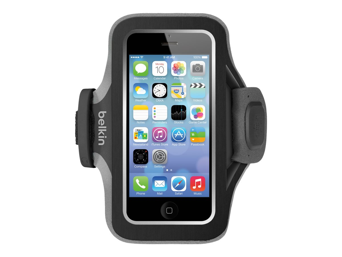 Belkin Slim-Fit Plus Armband for iPhone 5 5s 5c & iPhone SE, Blacktop Gravel, F8W299BTC00