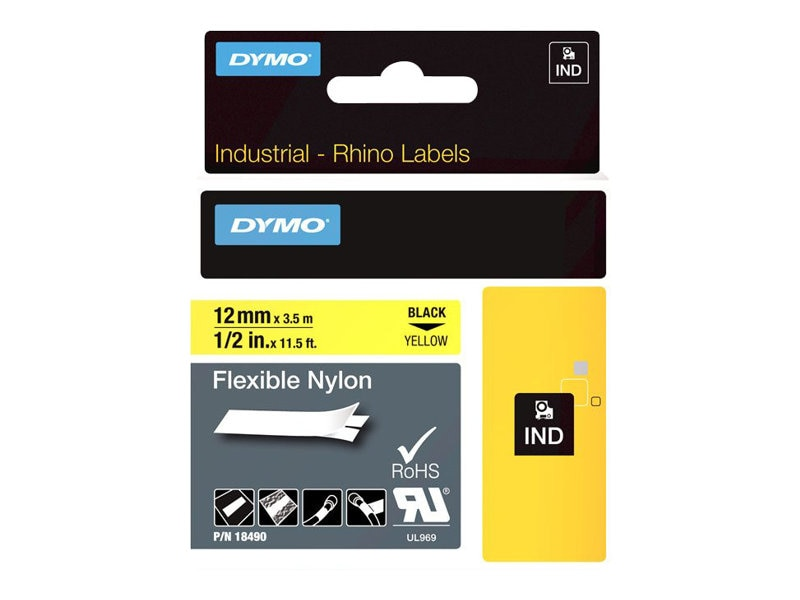 DYMO RhinoPRO Flexible Nylon Tape Yellow 1 2 x 11.5', 18490, 4814888, Paper, Labels & Other Print Media