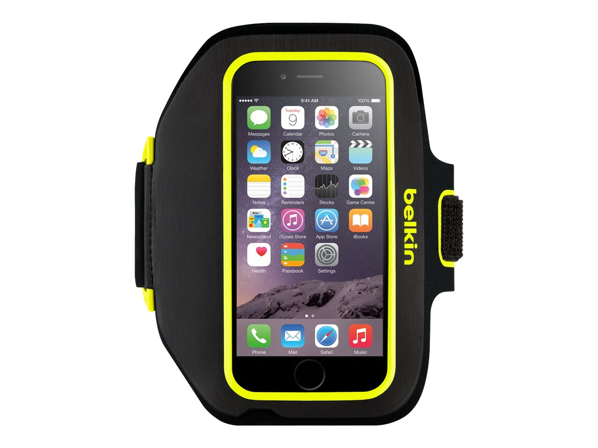 Belkin Sport-Fit Plus Armband - Blacktop Limelight for iPhone 6 and iPhone 6s