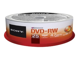 Sony DVD-RW Media (25-pack Spindle), 25DMW47SP, 15493240, DVD Media