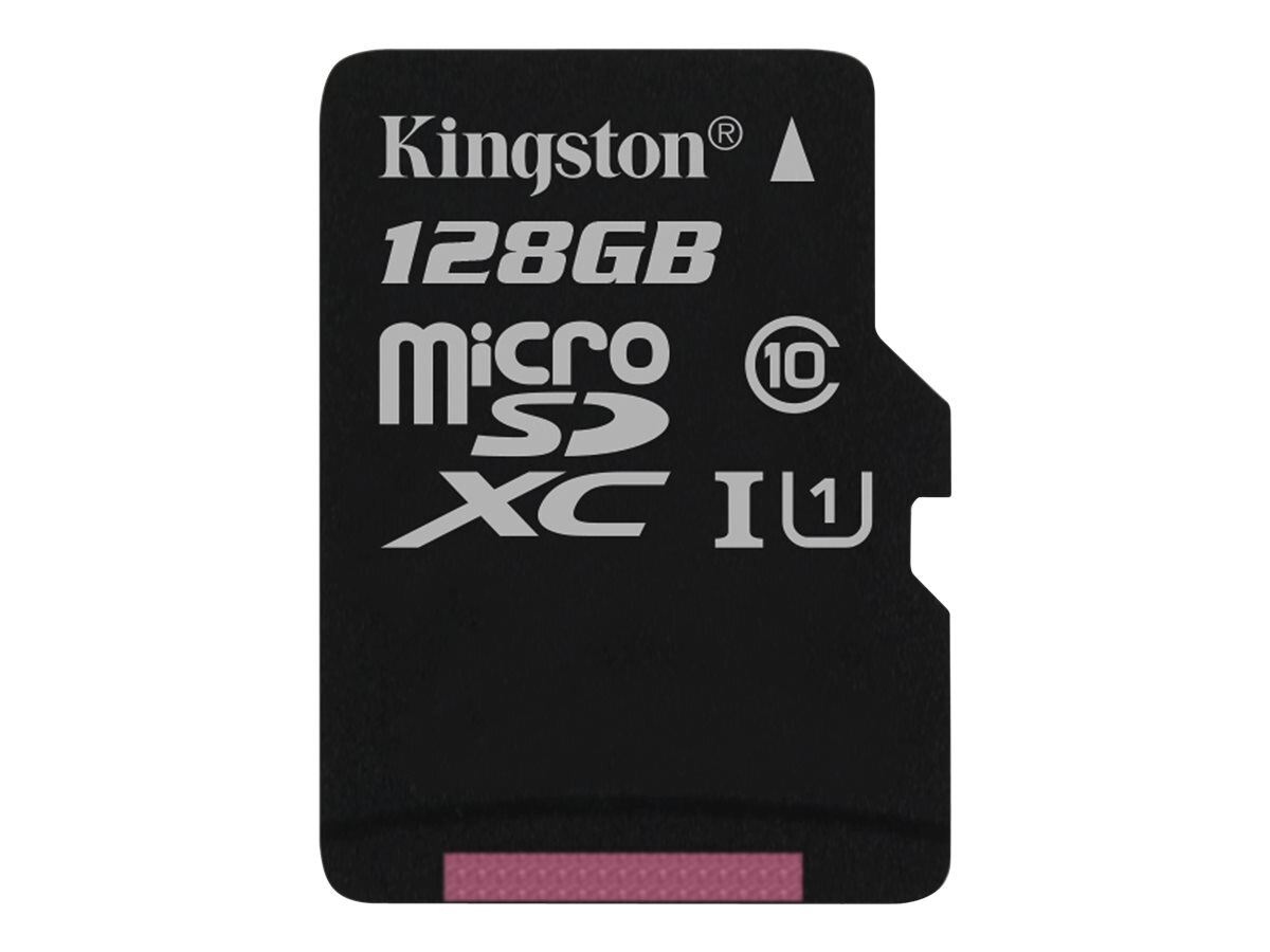 Kingston 128GB UHS-I MicroSDXC Flash Memory Card, Class 10, SDC10G2/128GBSP, 30731277, Memory - Flash